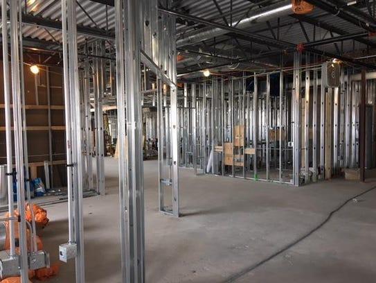 Metal framing is 75 percent completed at Oconomowoc