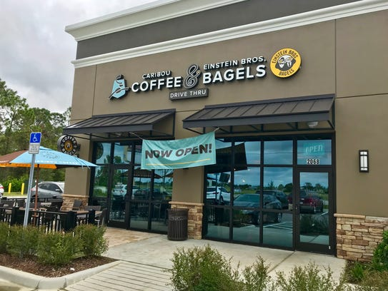 The area's first Caribou Coffee & Einstein Bros. Bagels