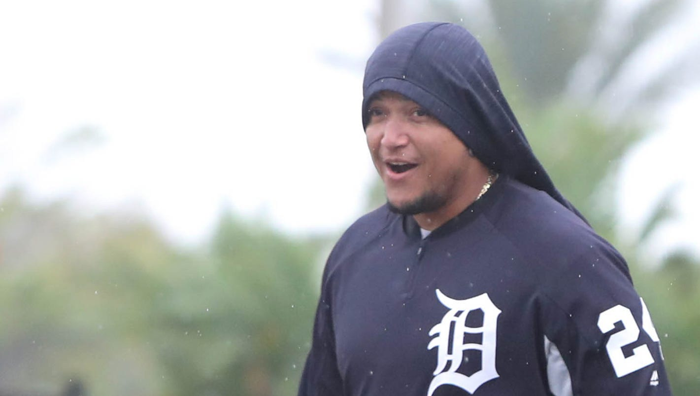 Miguel Cabrera arrives at Detroit Tigers spring training, focused on staying healthy
