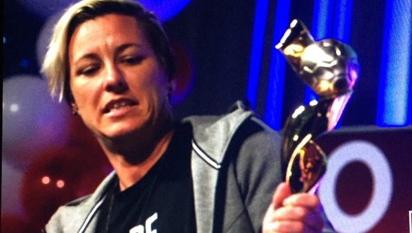 Abby Wambach attends a party at the Rochester Riverside Convention Center.