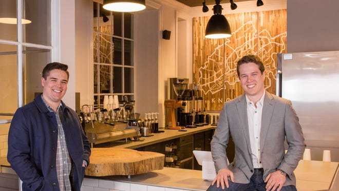 The LaMacchia brothers, Michael, left, and Pierce have opened two K Brew coffee houses.