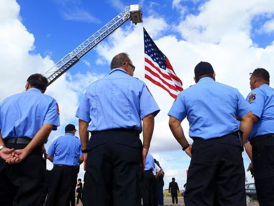 Corpus Christi fire fighters gather during the groundbreaking