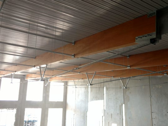 The ceiling of the Olympic-size pool features galvanized