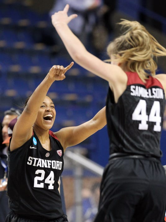 Stanford's Erica McCall (24) and Karlie Samuelson (44) celebrate after a regional semifinal in the NCAA women's college basketball tournament in Lexington, Ky., Friday, March 25, 2016. Stanford won 90-84. (AP Photo/James Crisp)