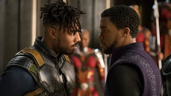 Erik Killmonger (Michael B. Jordan) and T'Challa/Black Panther (Chadwick Boseman) don't see eye to eye on Wakanda's future in 'Black Panther.'