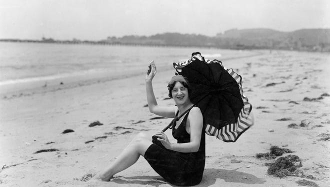 Model and actress Audrey Munson on the beach.