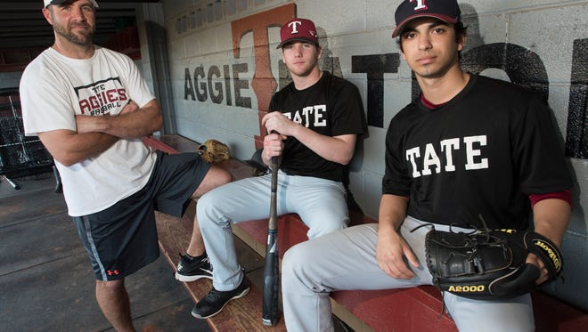 First-year Tate baseball coach Karl Jernigan, left will rely heavily on returning players Reid Halfacre and Gabe Castro this season.