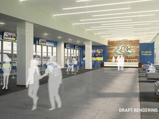 Rendering of gathering area that'll be adjacent to club seats and two suites in refurbished Delaware Stadium.