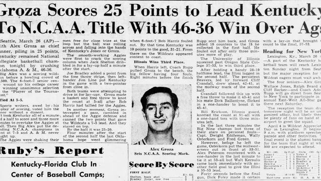UK won the 1949 national championship in Seattle, Washington. The Courier Journal recapped the win in its March 27, 1949 edition.