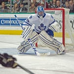 Toronto Maple Leafs goalie Jonathan Bernier (45) faces the Dallas Stars attack during the second period at the American Airlines Center.