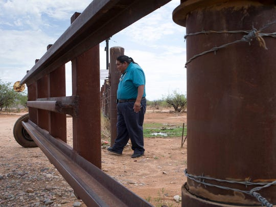 Verlon Jose, vice chairman of the Tohono O'odham Nation, enters the U.S. from Mexico at the San Miguel Gate. Many fear the border wall would result in all tribal ties with Mexico being cut off.