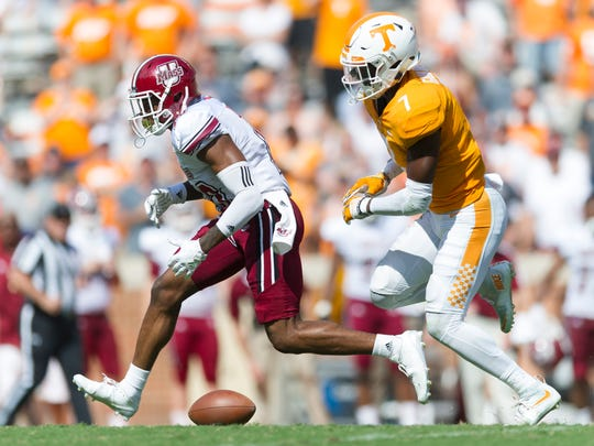 UMass wide receiver Brennon Dingle (10)  fumbles the ball as Tennessee defensive back Rashaan Gaulden (7) chases him during the Tennessee Volunteers vs. UMass Minutemen game at Neyland Stadium in Knoxville, Tennessee on Saturday, September 23, 2017.