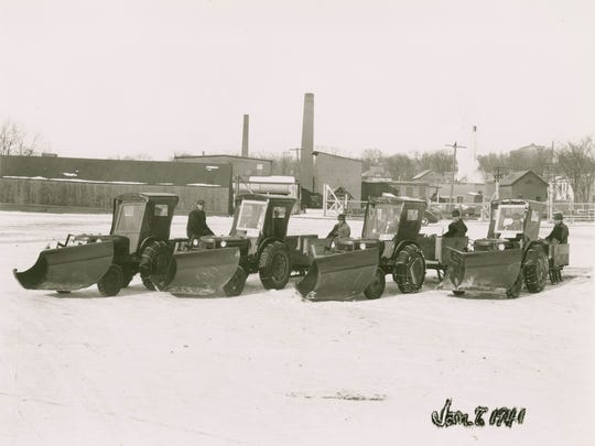 In 1940-1941, four new tractor plows cleared approximately 130 miles of city sidewalks. Street Department employees built the trailer sleds which were used to sand sidewalks.