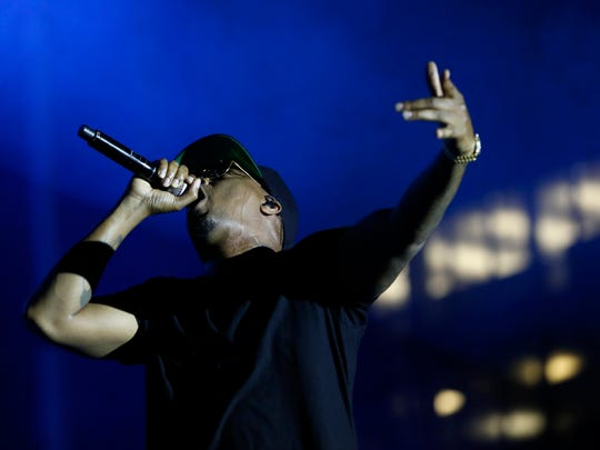 Rapper Nas performs Friday, July 8, 2016, on the Hyvee Main Stage on the first night of the 80/35 music festival in downtown Des Moines.