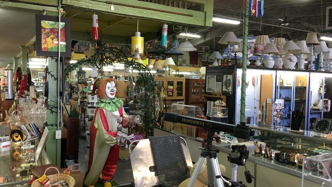 A clown effigy is among the many novelties on offer at the recently-burglarized Ruidoso Emporium.