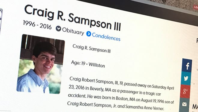 Craig R. Sampson III of Williston was killed in a car crash in Massachusetts in April 2016.