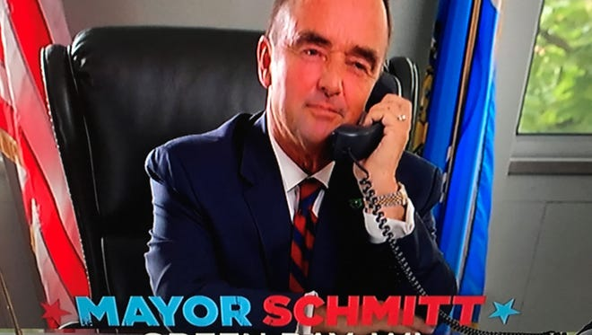 """Green Bay Mayor Jim Schmitt is among a handful of mayors from across the country featured in humorous TV promos for the new ABC sitcom """"The Mayor."""""""