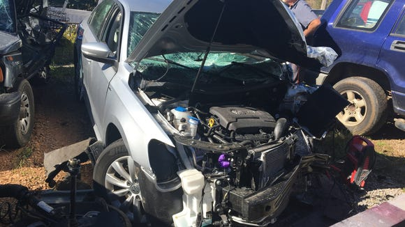 Cody Lominac's car after his accident on Oct. 20, 2016