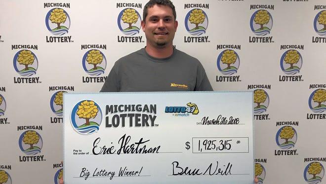 Eric Hartman held a lucky Lotto47 ticket worth $1.9 million.