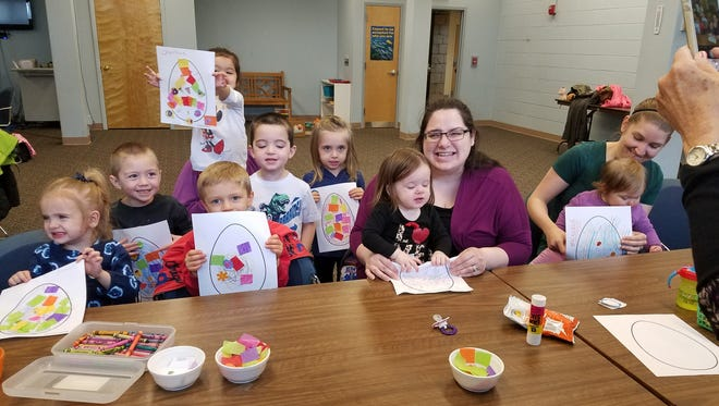 Participants in Cumberland County Library's Wee Read program show off the Easter eggs they created. The library is at 800 E. Commerce St., in Bridgeton. For information, call (856) 453-2210 or visit www.cclnj.org.