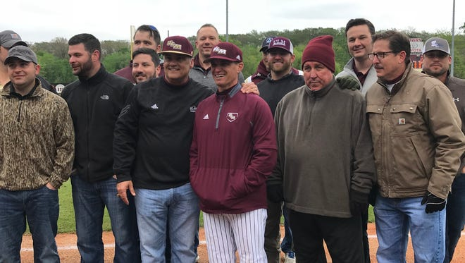 Former ULM baseball coach Jeff Schexnaider and the 2008 Sun Belt champion baseball team was honored prior to ULM's game against Texas State on Saturday.