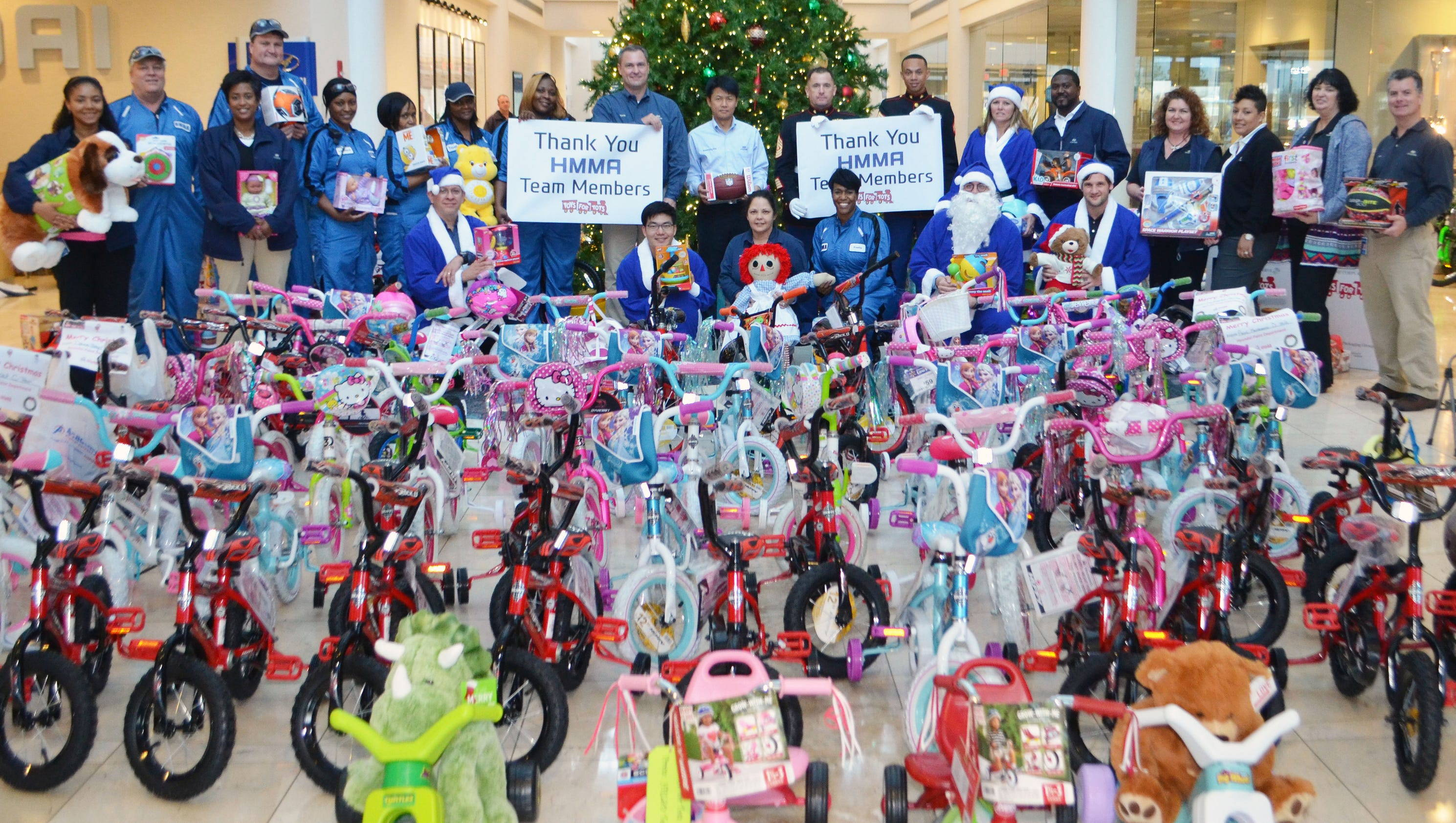 Bikes Toys For Tots Or Bust : Hyundai gives bikes for area kids