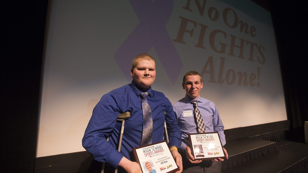 Owen-Withee's Will Maki, along with Ryan Dieringer of Columbus Catholic High School, was awarded 'Story of the Year' at USA TODAY NETWORK-Wisconsin's central Wisconsin High School Sports Awards for the two teens' battle with cancer.