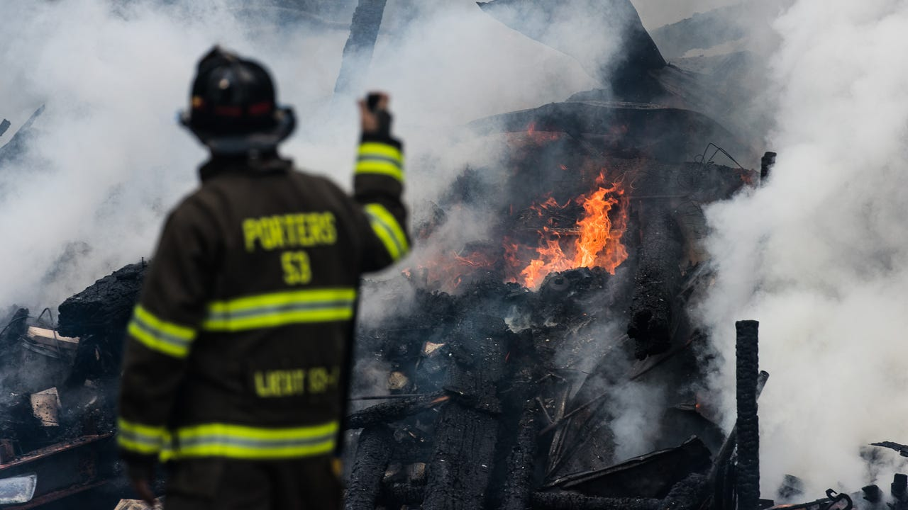 A barn with a lean-to was destroyed by a blaze Tuesday afternoon. Ten emergency service units assisted in fighting the fire. The barn belong to Lowell Eisenhart, 80, and no one was injured in the blaze.