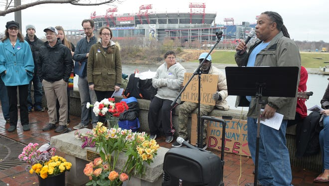 Nashville Homeless Underground Co-Founder Howard Allen Jr. speaks at the 2016 Annual Homeless Memorial to honor 87 people who died from the homeless community this year. The memorial was on Saturday, December 17, 2016 at Riverfront Park.