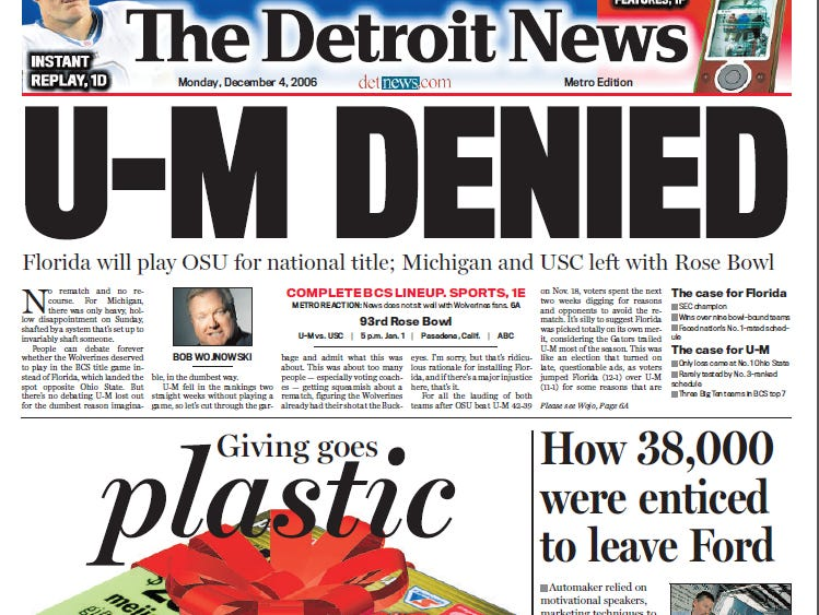 View the front page of The Detroit News each day of the week of December 4, 2006.