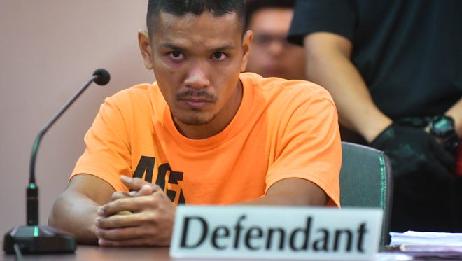 Steven Paul Cepeda Borja attends his sentencing hearing in the Superior Court of Guam on Oct. 18, for two counts of animal abuse in the first degree. Borja was the subject of a viral video in which he is seen violently beating two dogs owned by his then-employer.