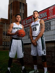 Michigan State basketball players Bryn Forbes, left, and Denzel Valentine, right, won two state titles at Lansing Sexton. They'd like to leave a legacy that also includes a national title at MSU.