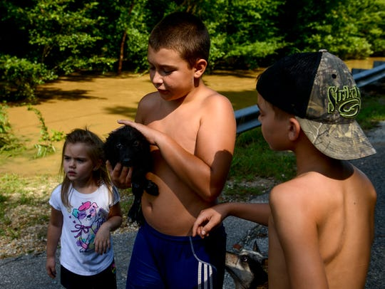 Daniel Kelley, 11, and his friends Brody Leatherwood,