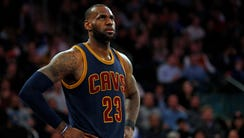 LeBron James looks on during the second half against
