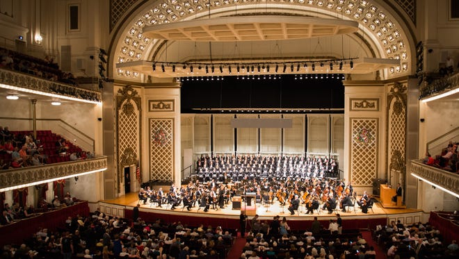 """Springer Auditorum is packed as the Cincinnati Symphony Orchestra performs Mendelssohn's """"Elijah"""" on the final evening of May Festival, and the final concert inside Music Hall before renovations begin Saturday May 28, 2016."""