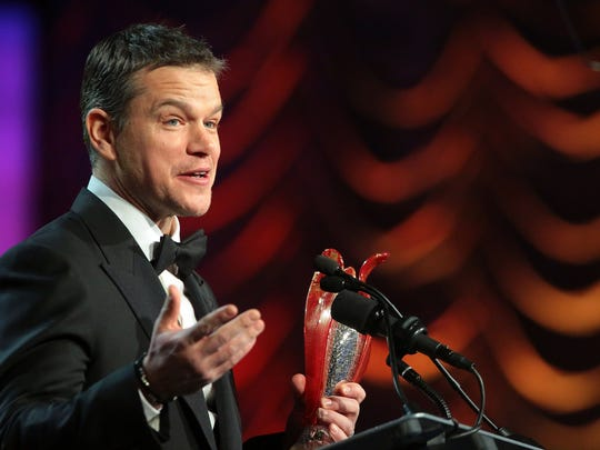 "Matt Damon received The Chairman's Award at the Palm Springs International Film Festival for his performance in ""The Martian. He joked that friend Ben Affleck, who previously had received the award, would refer to Damon ""as The Chairman for a week."""