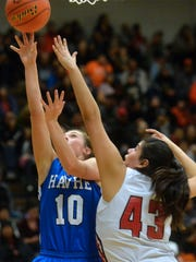 Havre's Kyndall Keller shoots as Browning's Tamika Guardipee defends in the semifinals of the girls' Class A State Basketball Tournament in the Four Seasons Arena in Great Falls, Friday.