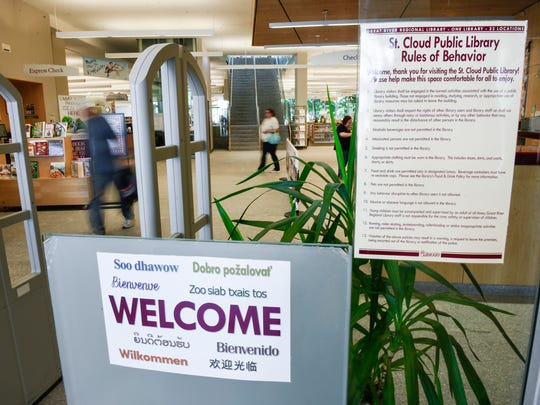 The St. Cloud Public Library Rules of Behavior are posted at the entry and around the building shown Thursday, July 5, at the St. Cloud Public Library.