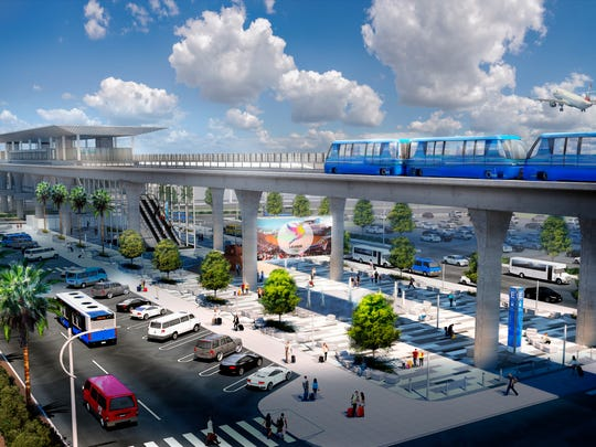 This undated artist's rendering provided by Los Angeles World Airports shows the eastern teminus of a driverless people mover system at Los Angeles International Airport.