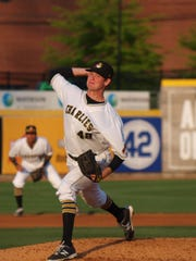 Mike Wallace of Madison pitches for West Virginia,