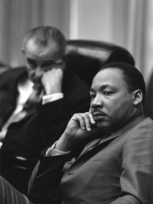 Dr. Martin Luther King Jr. and President Lyndon B. Johnson on March 18, 1966