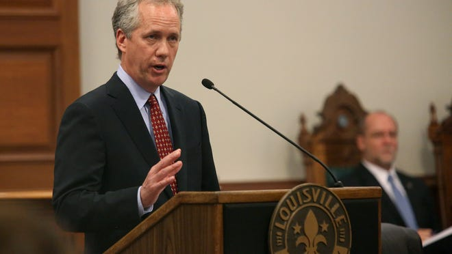 Louisville Mayor Greg Fischer presents his proposed budget for 2014-15 to the Metro Council at City Hall.  May 22, 2014.