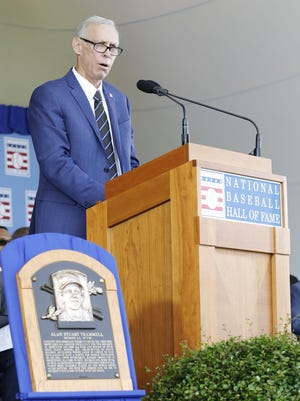 Alan Trammell speaks at the Baseball Hall of Fame