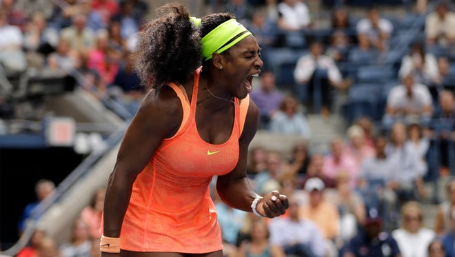 Serena Williams reacts after winning a point against Roberta Vinci, of Italy, during a semifinal match at the U.S. Open tennis tournament on Sept. 11 in New York.