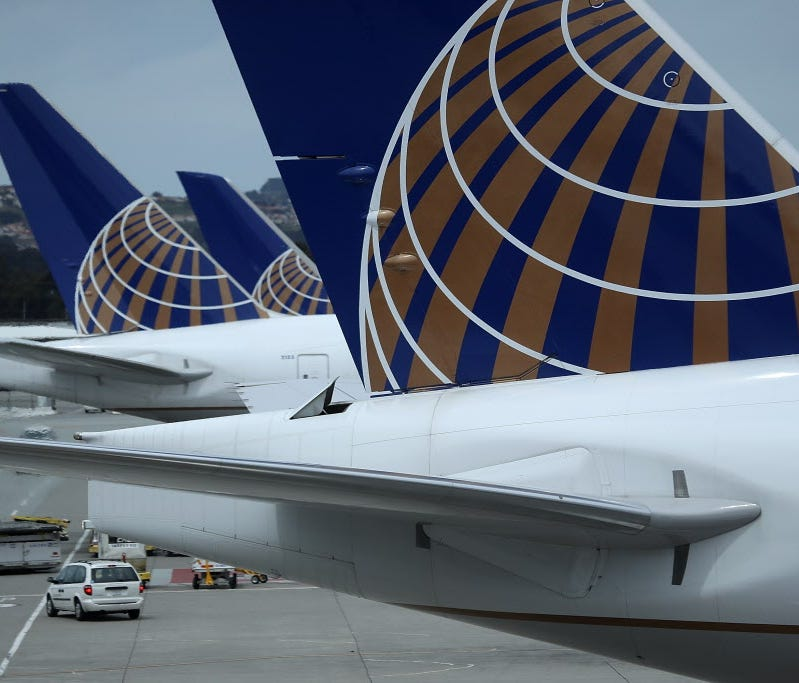 United Airlines planes sit on the tarmac at San Francisco International Airport on April 18, 2018 in San Francisco.