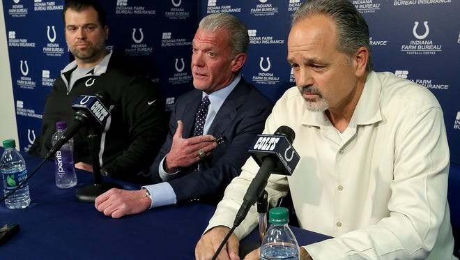 The Indianapolis Colts announce that head coach Chuck Pagano will return as he signs a contract extension with the team. Here Indianapolis Colts owner Jim Irsay shares a laugh with his head coach Chuck Pagano,right, and Colts GM Ryan Grigson,left, as they address the media.