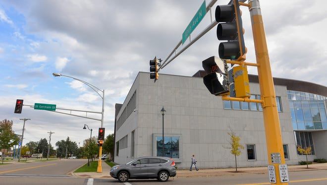 Removal is planned for the stoplight at 12th Avenue North and St. Germain Street, seen here Monday, Oct. 10.