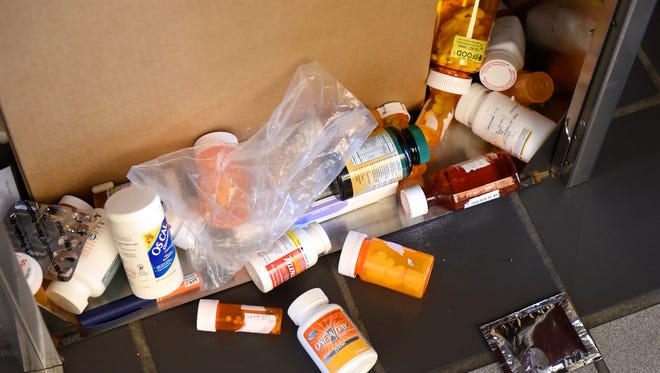 A variety of drugs are dropped off at the public drop box at the Stearns County Law Enforcement Center.