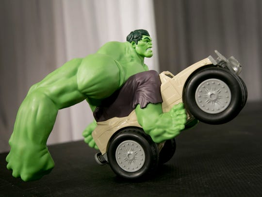 The Marvel Avengers Remote Control Hulk Smash XPV from Jakks Pacific is displayed at the TTPM Holiday Showcase in New York.