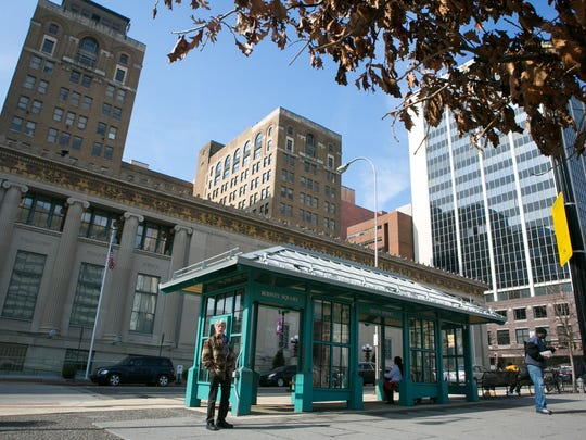 The bus stop in Rodney Square where Calvin Hooker III allegedly killed Thomas Cottingham as Cottingham tried to protect a woman and infant being chased. Hooker's trial began Tuesday in Superior Court in Wilmington.